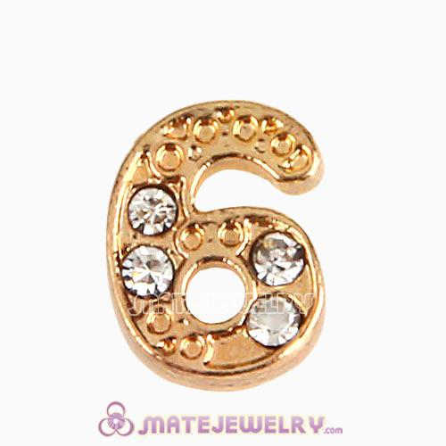 Gold Plated Alloy Number 6 with Crystal Floating Locket Charms