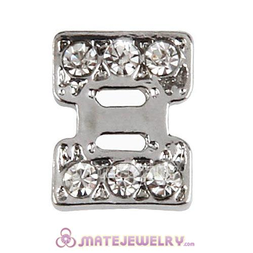 Platinum Plated Alloy Greek Letter Xi with Crystal Floating Locket Charms