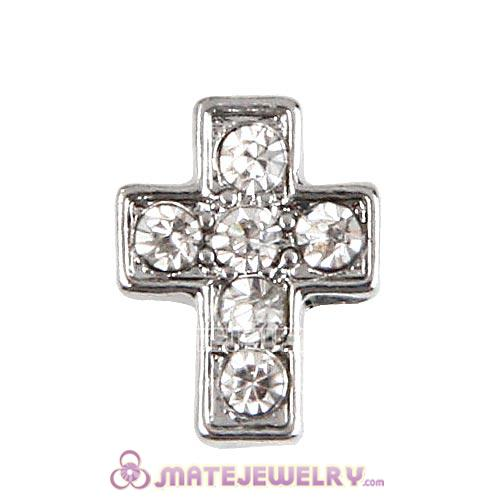 Platinum Plated Alloy Cross with Crystal Floating Locket Charms