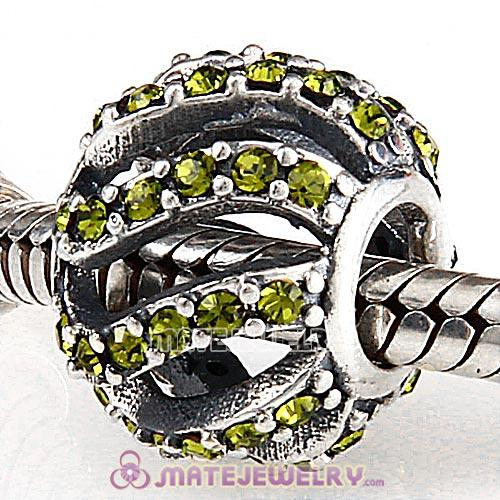 Sterling Silver Winter Wisp Beads with Olivine Austrian Crystal European Style