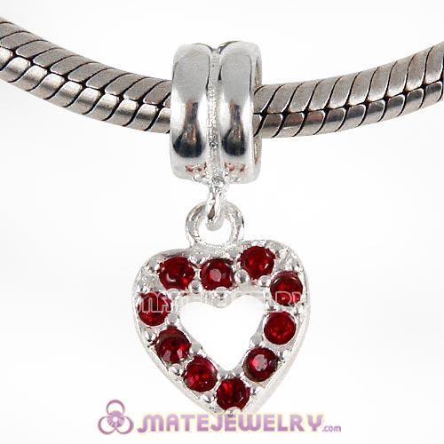 Sterling Silver Heart Dangle Charms with Siam Austrian Crystal