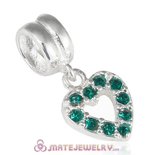 Sterling Silver Heart Dangle Charms with Emerald Austrian Crystal