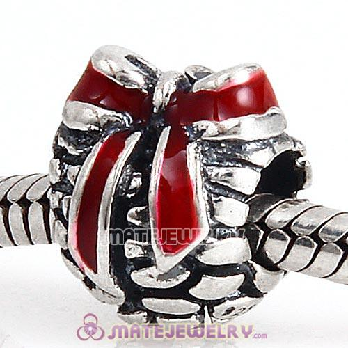 Sterling Silver Red Enamel Pinecone Christmas gift Charm Beads
