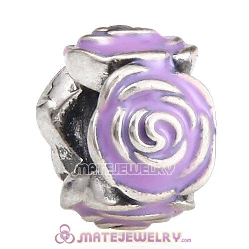 Sterling Silver Rose Garden with Purple Enamel Charm Beads
