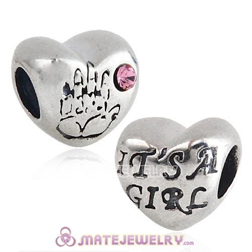 Antique Sterling Silver IT IS A GIRL Heart Beads with Pink Austrian Crystal