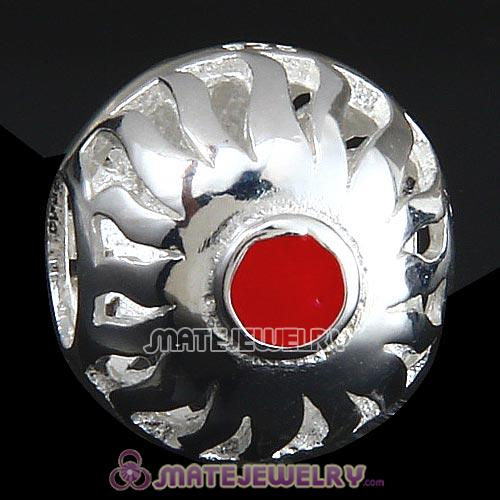 Sterling Silver Sunrise with Red Enamel Charm Beads