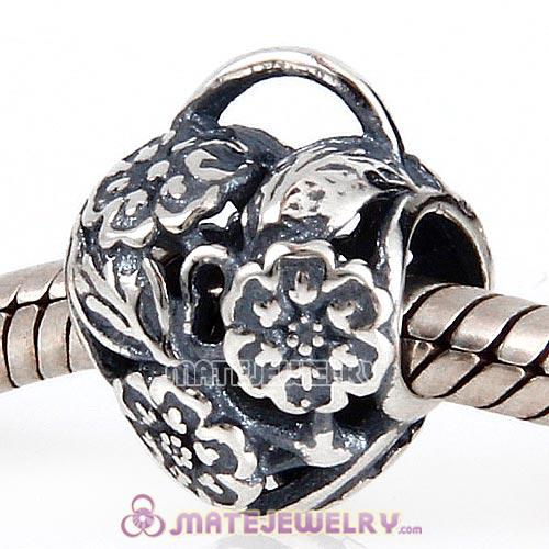 European Style Sterling Silver Floral Heart Padlock Beads
