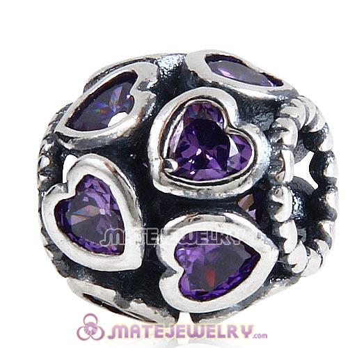European Style Sterling Silver Love All Around Beads with Purple CZ Stone