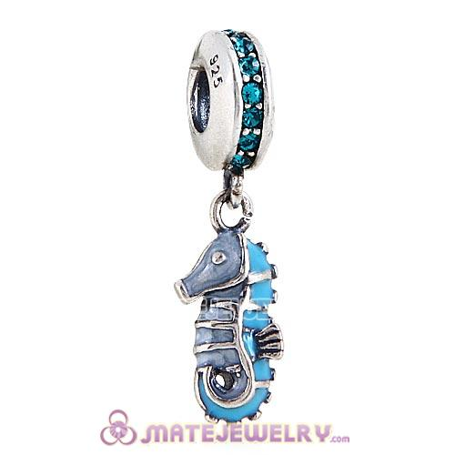 European Sterling Silver Dangle Tropical Seahorse with Blue Zircon Austrian Crystal Charm