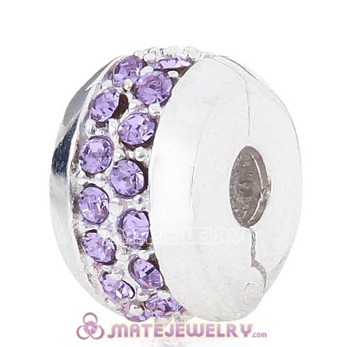 Sterling Silver Clip Beads with Violet Austrian Crystal European Style