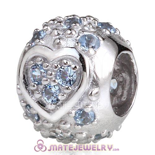 Sterling Silver European Style Heart Beads with Light Sapphire CZ Stone