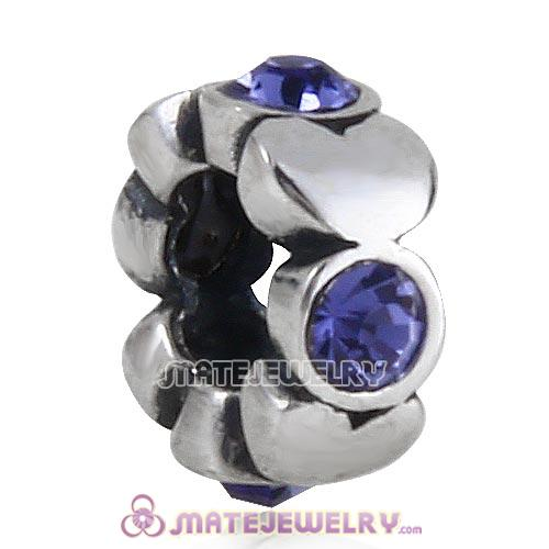 925 Sterling Silver Heart Spacer Beads with Tanzanite Austrian Crystal