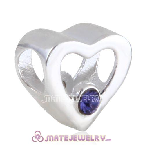 Sterling Silver European Hollow Heart Beads with Tanzanite Austrian Crystal
