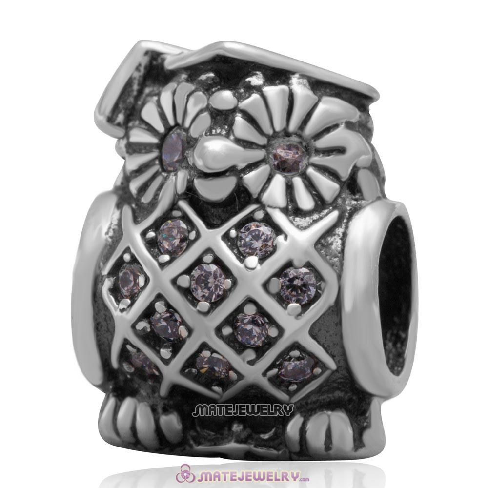 Sterling Silver Graduate Owl Charm Bead with Clear CZ