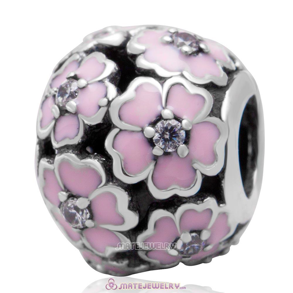 925 Sterling Silver Primrose Meadow with Pink Enamel White CZ Charm Bead