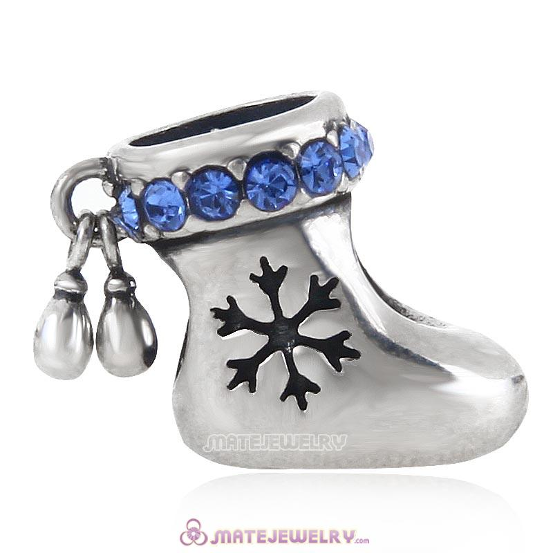 Christmas Stocking Charm Antique Sterling Silver Bead with Sapphire Australian Crystal