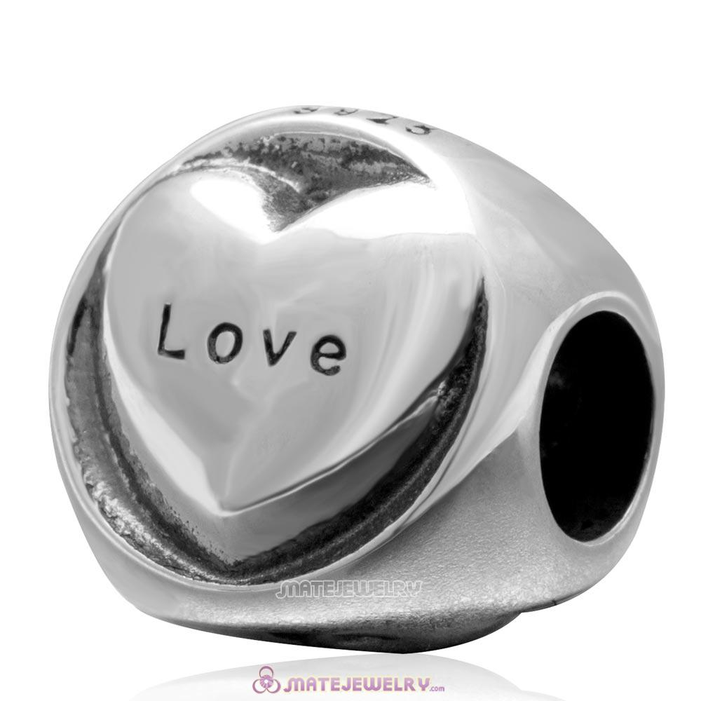 Vintage 925 Sterling Silver Hope Faith Love Heart Bead