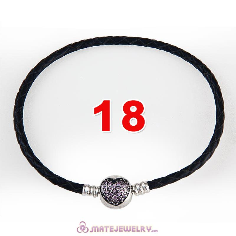 18cm Black Braided Leather Bracelet 925 Silver Love of My Life Round Clip with Heart Pink CZ Stone