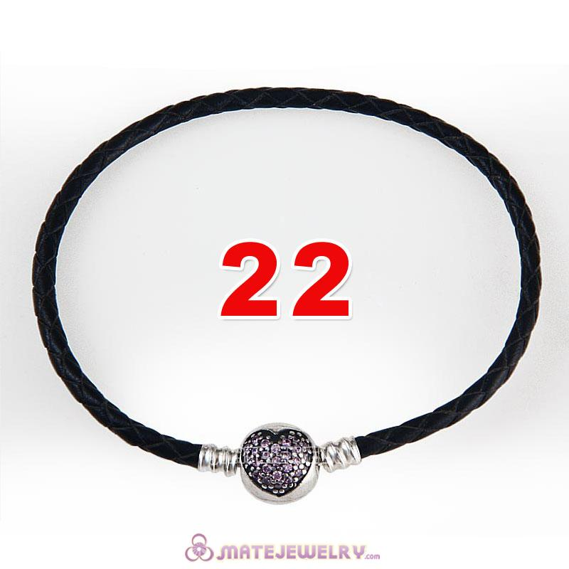 22cm Black Braided Leather Bracelet 925 Silver Love of My Life Round Clip with Heart Pink CZ Stone