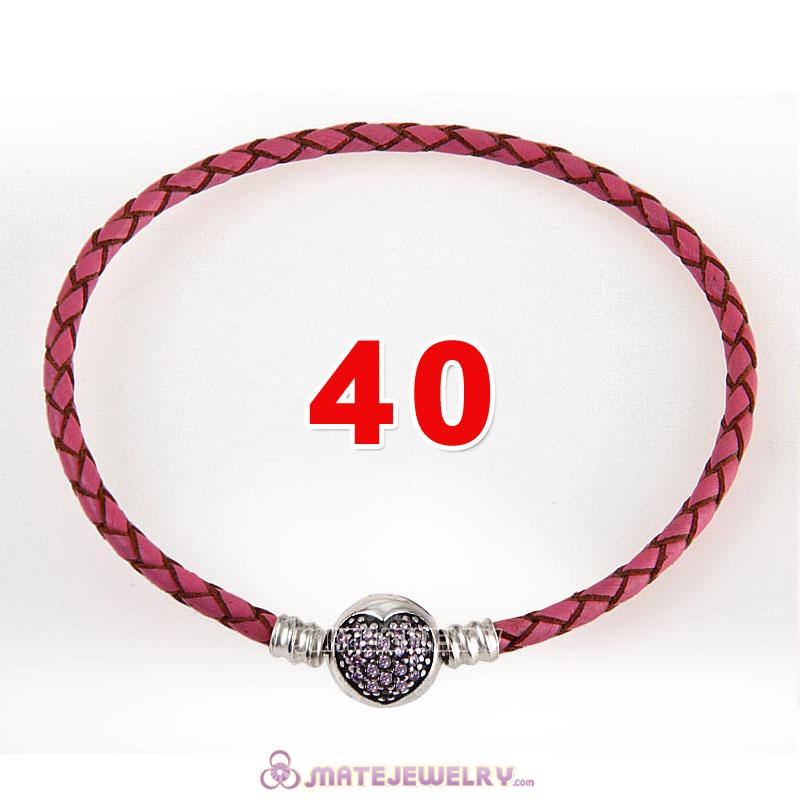 40cm Pink Braided Leather Double Bracelet 925 Silver Love of My Life Clip with Heart Pink CZ Stone