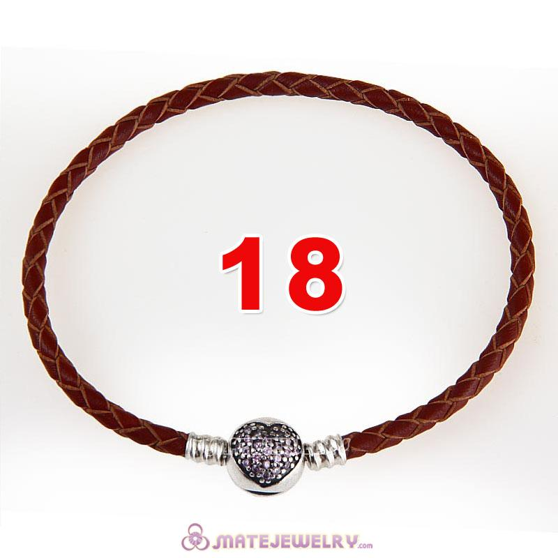 18cm Brown Braided Leather Bracelet 925 Silver Love of My Life Round Clip with Heart Pink CZ Stone