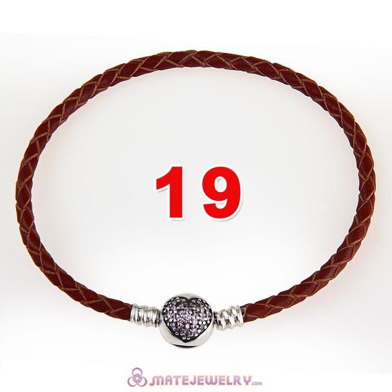 19cm Brown Braided Leather Bracelet 925 Silver Love of My Life Round Clip with Heart Pink CZ Stone