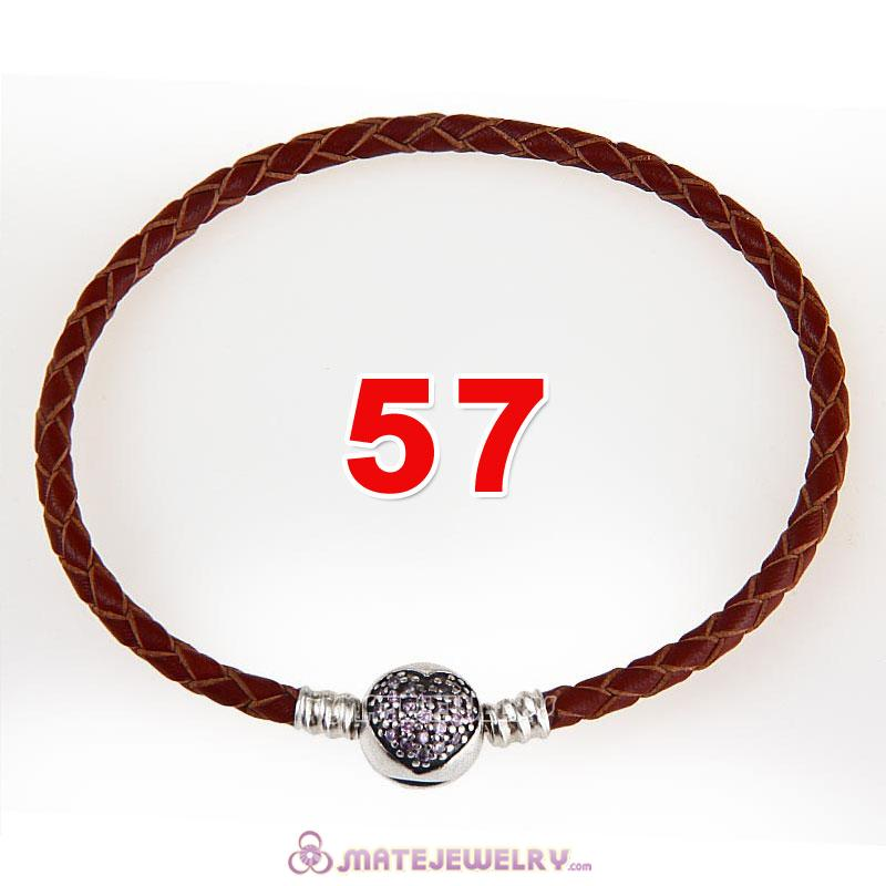 57cm Brown Braided Leather Triple Bracelet 925 Silver Love of My Life Clip with Heart Pink CZ Stone