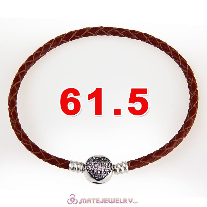 61.5cm Brown Braided Leather Triple Bracelet Silver Love of My Life Clip with Heart Pink CZ Stone