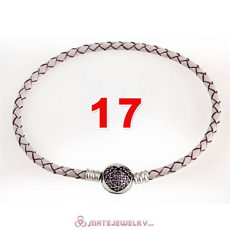 17cm White Braided Leather Bracelet 925 Silver Love of My Life Round Clip with Heart Pink CZ Stone