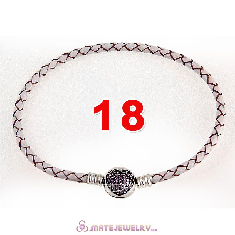 18cm White Braided Leather Bracelet 925 Silver Love of My Life Round Clip with Heart Pink CZ Stone
