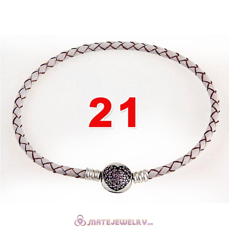 21cm White Braided Leather Bracelet 925 Silver Love of My Life Round Clip with Heart Pink CZ Stone