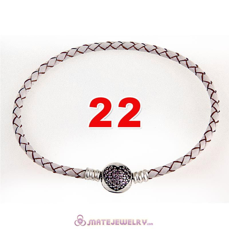 22cm White Braided Leather Bracelet 925 Silver Love of My Life Round Clip with Heart Pink CZ Stone
