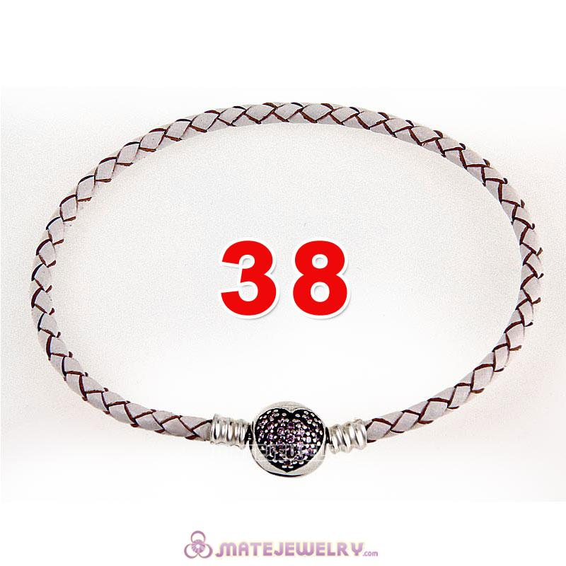 38cm White Braided Leather Double Bracelet 925 Silver Love of My Life Clip with Heart Pink CZ Stone