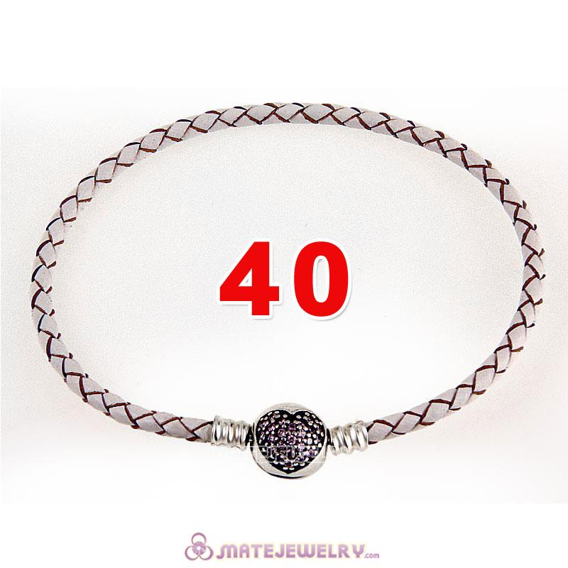 40cm White Braided Leather Double Bracelet 925 Silver Love of My Life Clip with Heart Pink CZ Stone