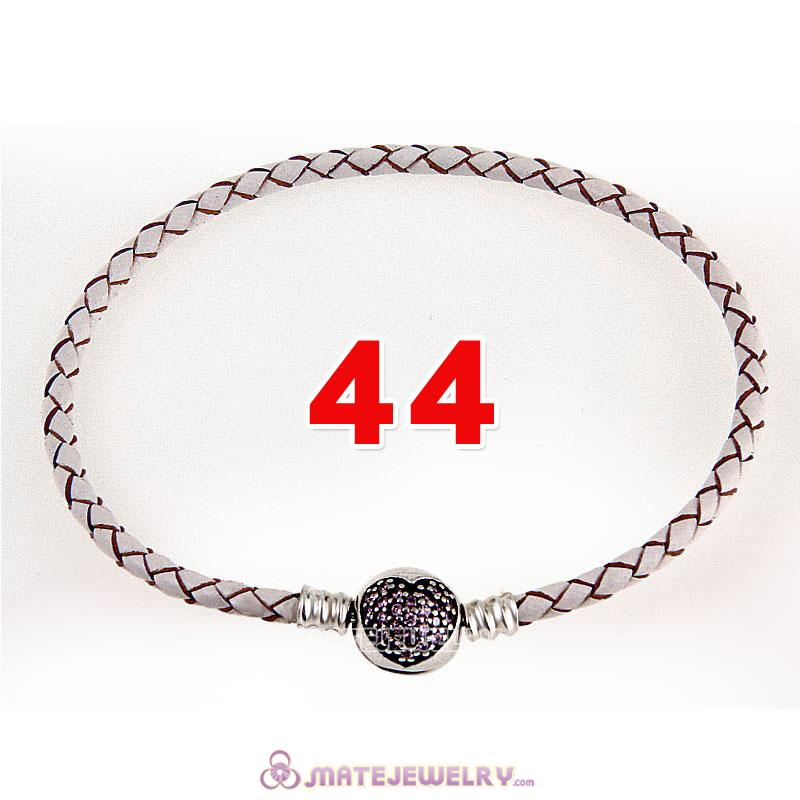44cm White Braided Leather Double Bracelet 925 Silver Love of My Life Clip with Heart Pink CZ Stone