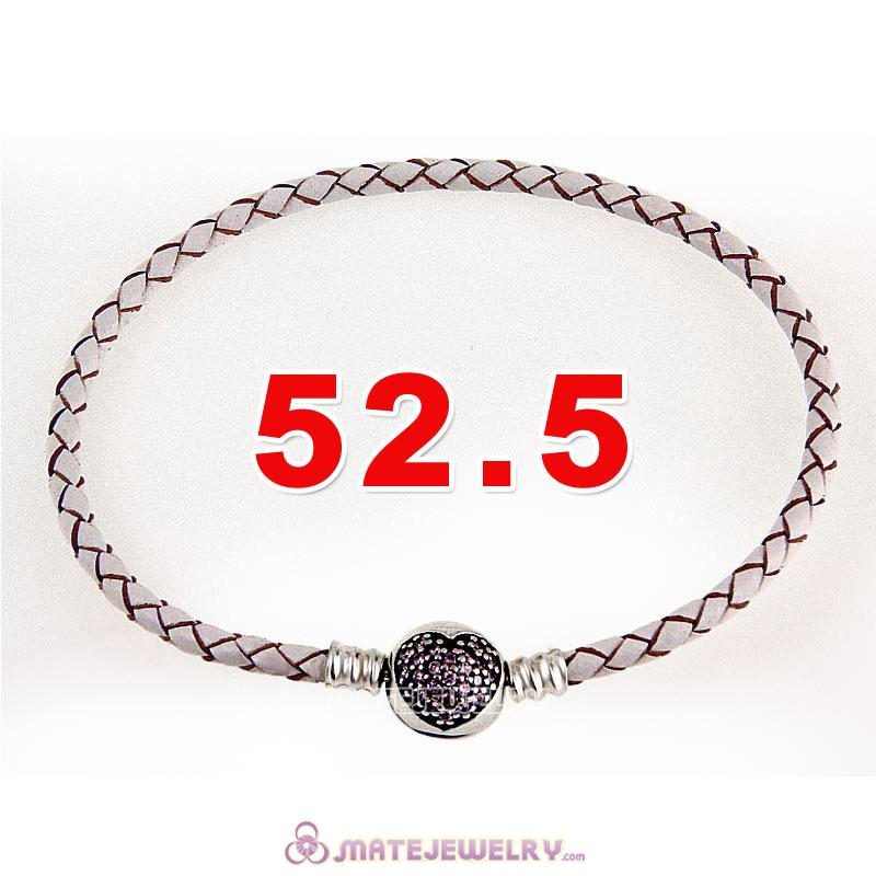 52.5cm White Braided Leather Triple Bracelet Silver Love of My Life Clip with Heart Pink CZ Stone
