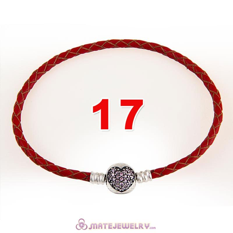 17cm Red Braided Leather Bracelet 925 Silver Love of My Life Round Clip with Heart Pink CZ Stone