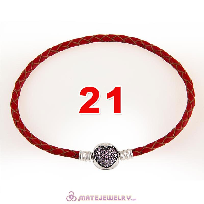21cm Red Braided Leather Bracelet 925 Silver Love of My Life Round Clip with Heart Pink CZ Stone
