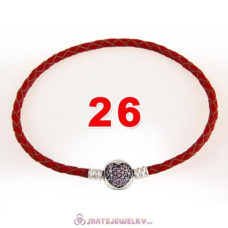 26cm Red Braided Leather Bracelet 925 Silver Love of My Life Round Clip with Heart Pink CZ Stone