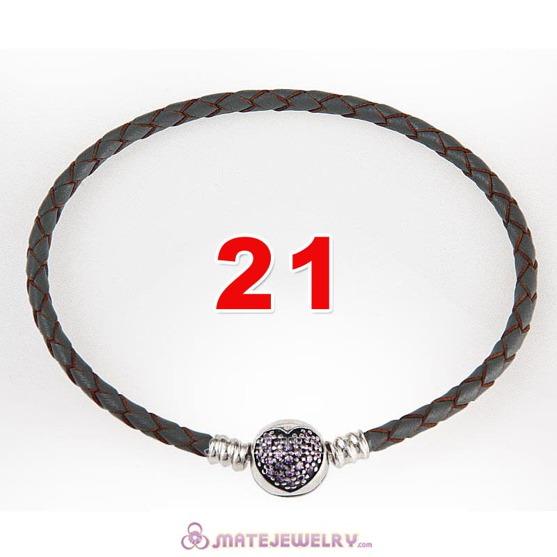 21cm Gray Braided Leather Bracelet 925 Silver Love of My Life Round Clip with Heart Pink CZ Stone