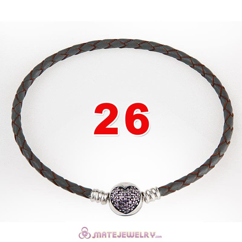 26cm Gray Braided Leather Bracelet 925 Silver Love of My Life Round Clip with Heart Pink CZ Stone