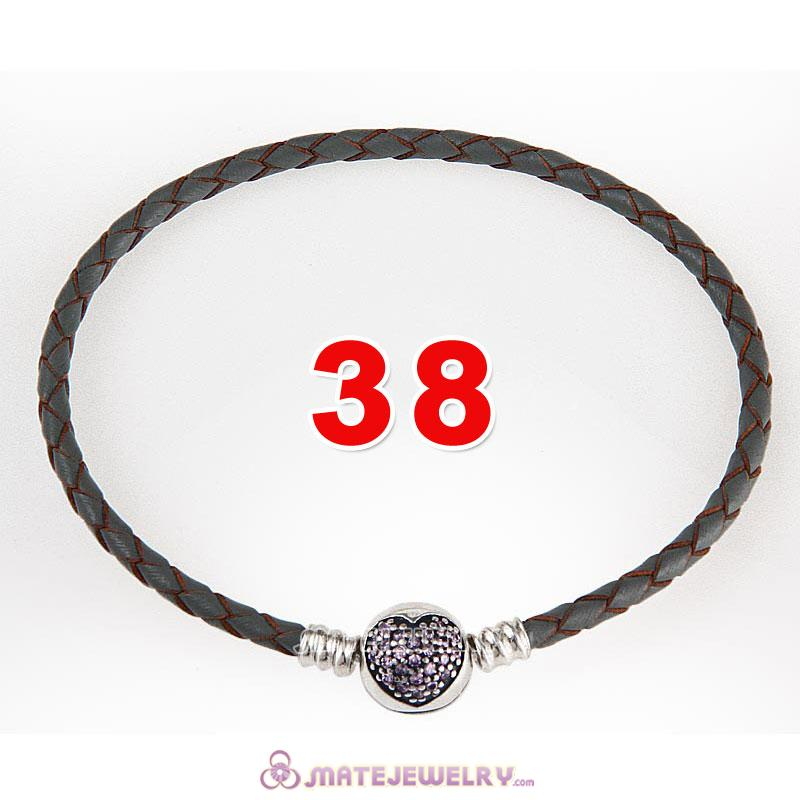 38cm Gray Braided Leather Double Bracelet 925 Silver Love of My Life Clip with Heart Pink CZ Stone