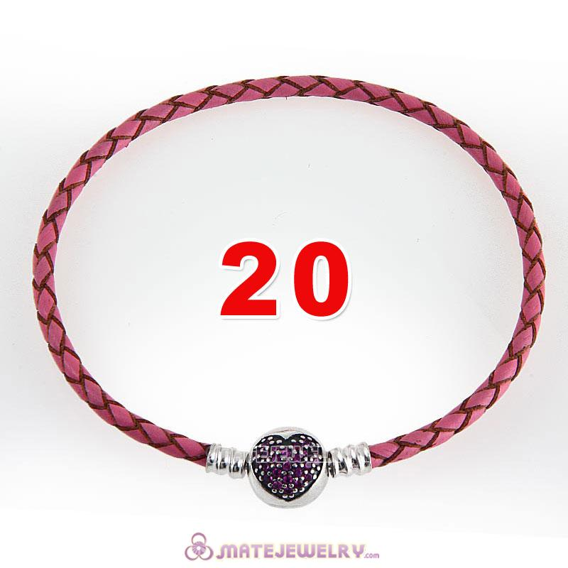 20cm Pink Braided Leather Bracelet 925 Silver Love of My Life Round Clip with Heart Red CZ Stone