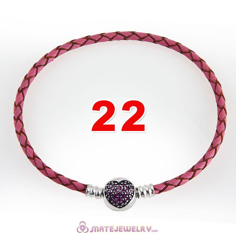 22cm Pink Braided Leather Bracelet 925 Silver Love of My Life Round Clip with Heart Red CZ Stone