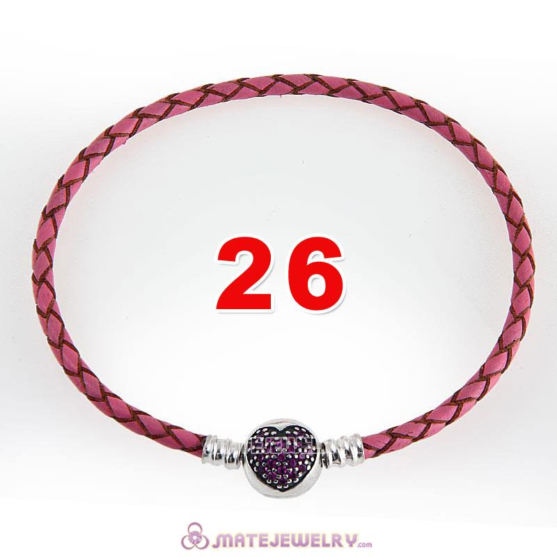 26cm Pink Braided Leather Bracelet 925 Silver Love of My Life Round Clip with Heart Red CZ Stone