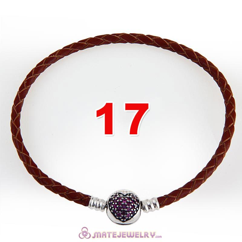 17cm Brown Braided Leather Bracelet 925 Silver Love of My Life Round Clip with Heart Red CZ Stone