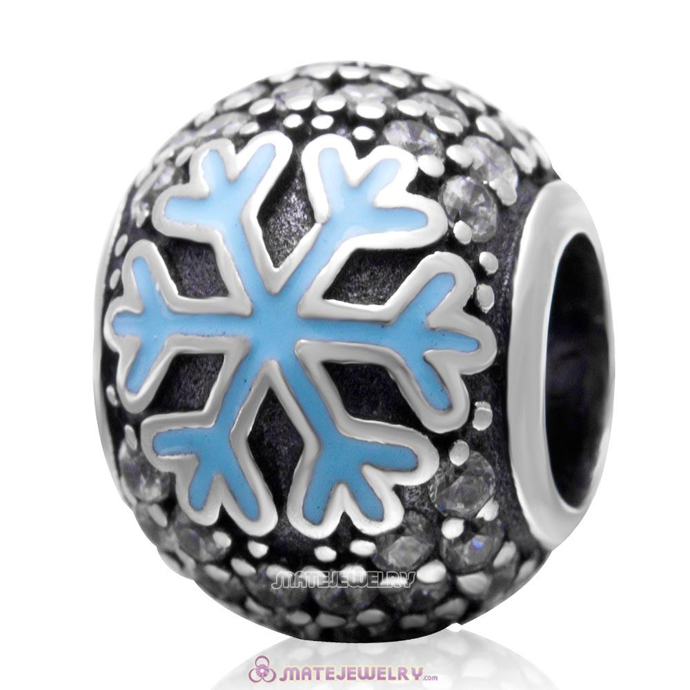 Christmas Snowflake Charm 925 Sterling Silver European Bead with Clear Zircon Stones