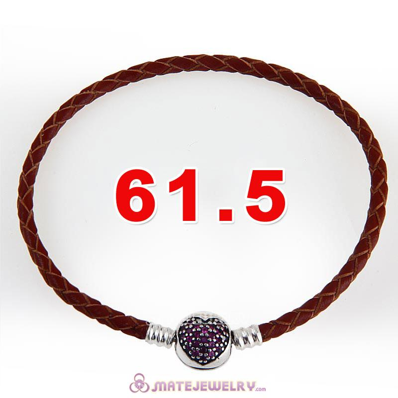 61.5cm Brown Braided Leather Triple Bracelet Silver Love of My Life Clip with Heart Red CZ Stone