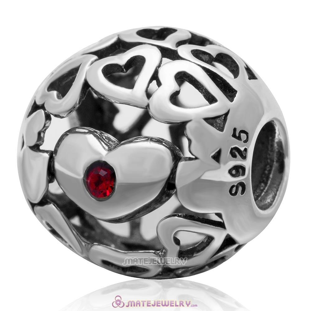 Belived Antique 925 Sterling Silver Open Heart Charm Bead with Lt Siam Austrian Crystal