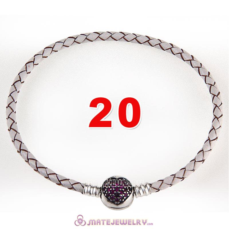 20cm White Braided Leather Bracelet 925 Silver Love of My Life Round Clip with Heart Red CZ Stone